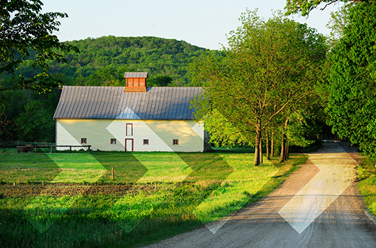 USDA Loan - Rural setting with a barn transformed into a home.