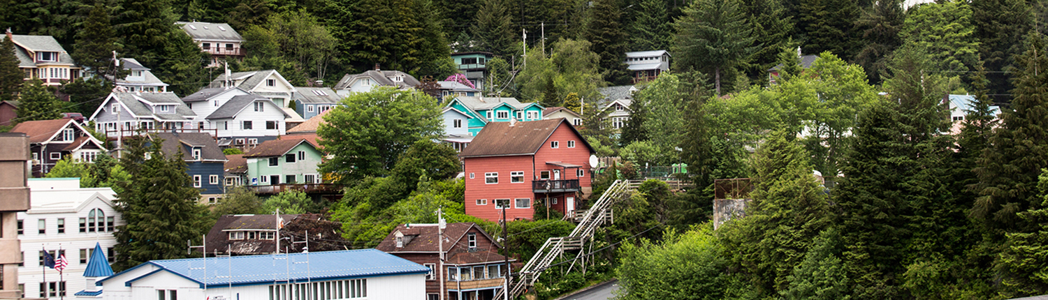 Houses on Bluff in Ketchikan, Alaska