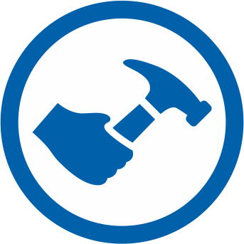 Icon depicting hammer for home construction application