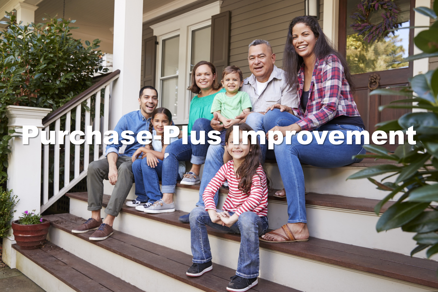 picture of extended hispanic family sitting on front porch steps