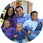 African american  family with three small flyers - purchase