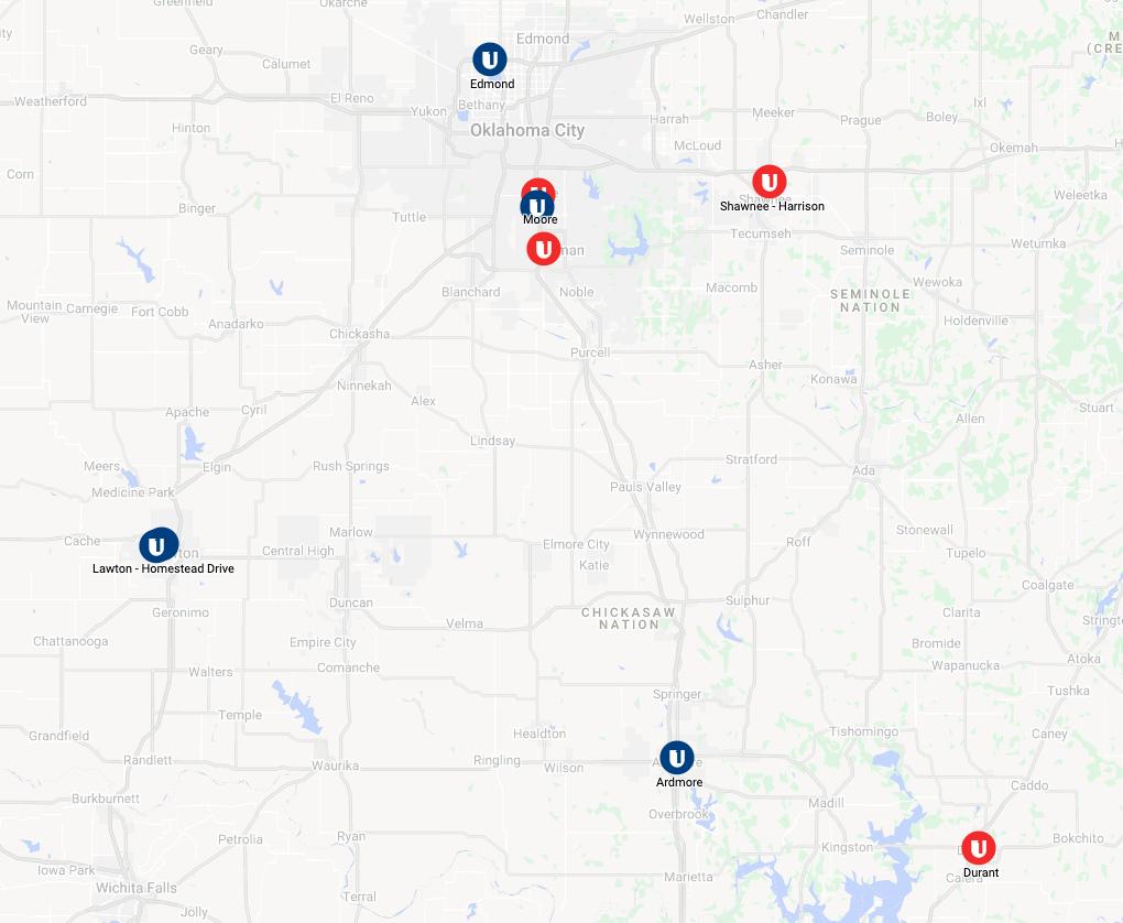 Map of South Oklahoma