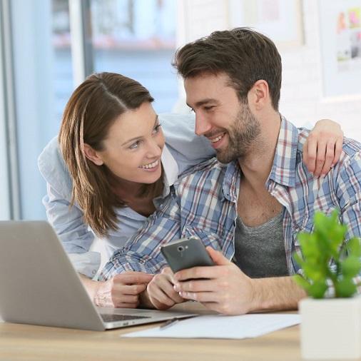 Couple conducting digital banking