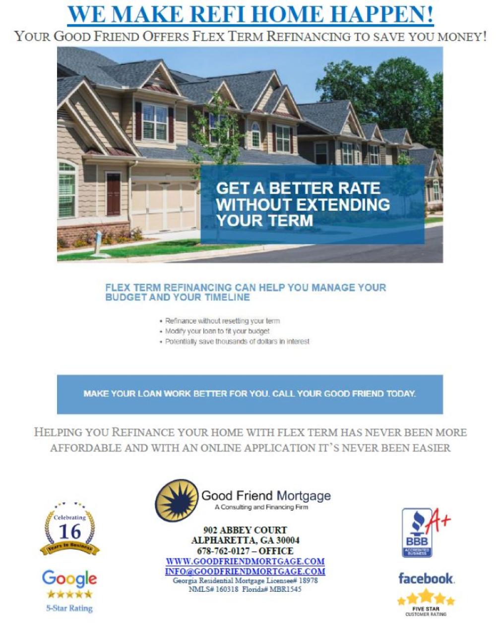 Refinance via Flex Term mortgage loan