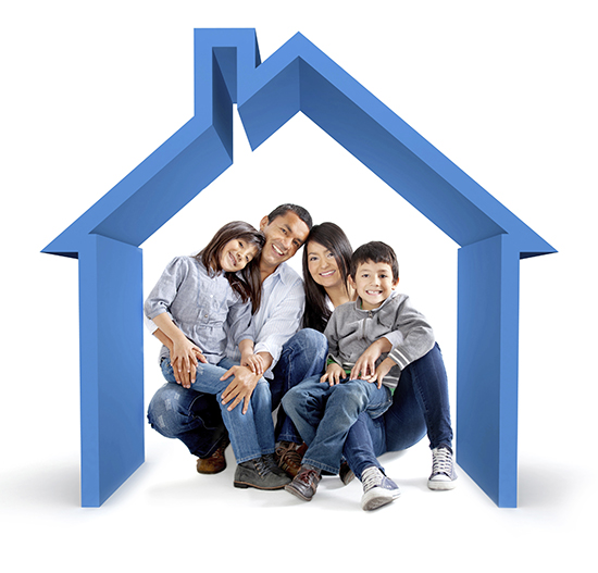 asian family under a house outline - home purchase basics
