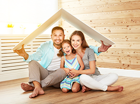 A happy family after their home purchase from a mortgage lender