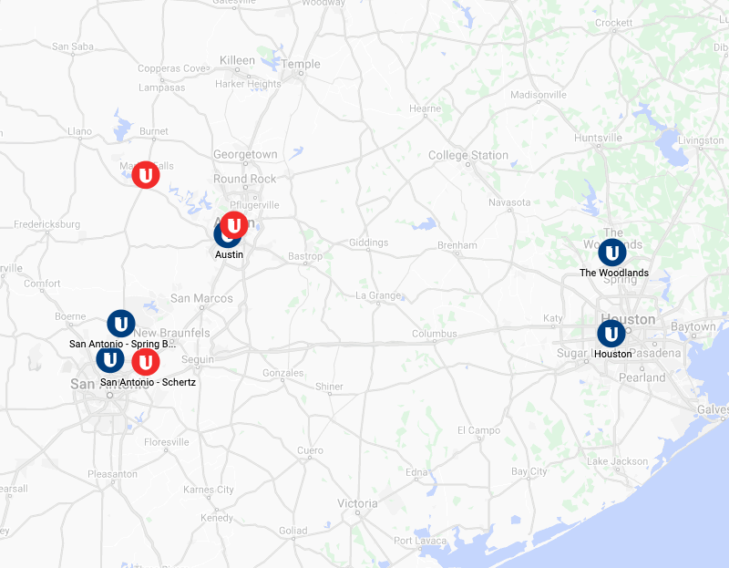 Map of Central & South Texas Region