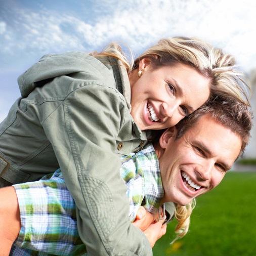 Happy couple in yard