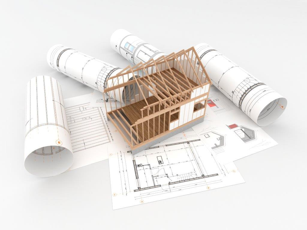 New construction house with blue print plans